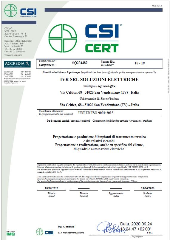 Certification UNI EN ISO 9001:2015